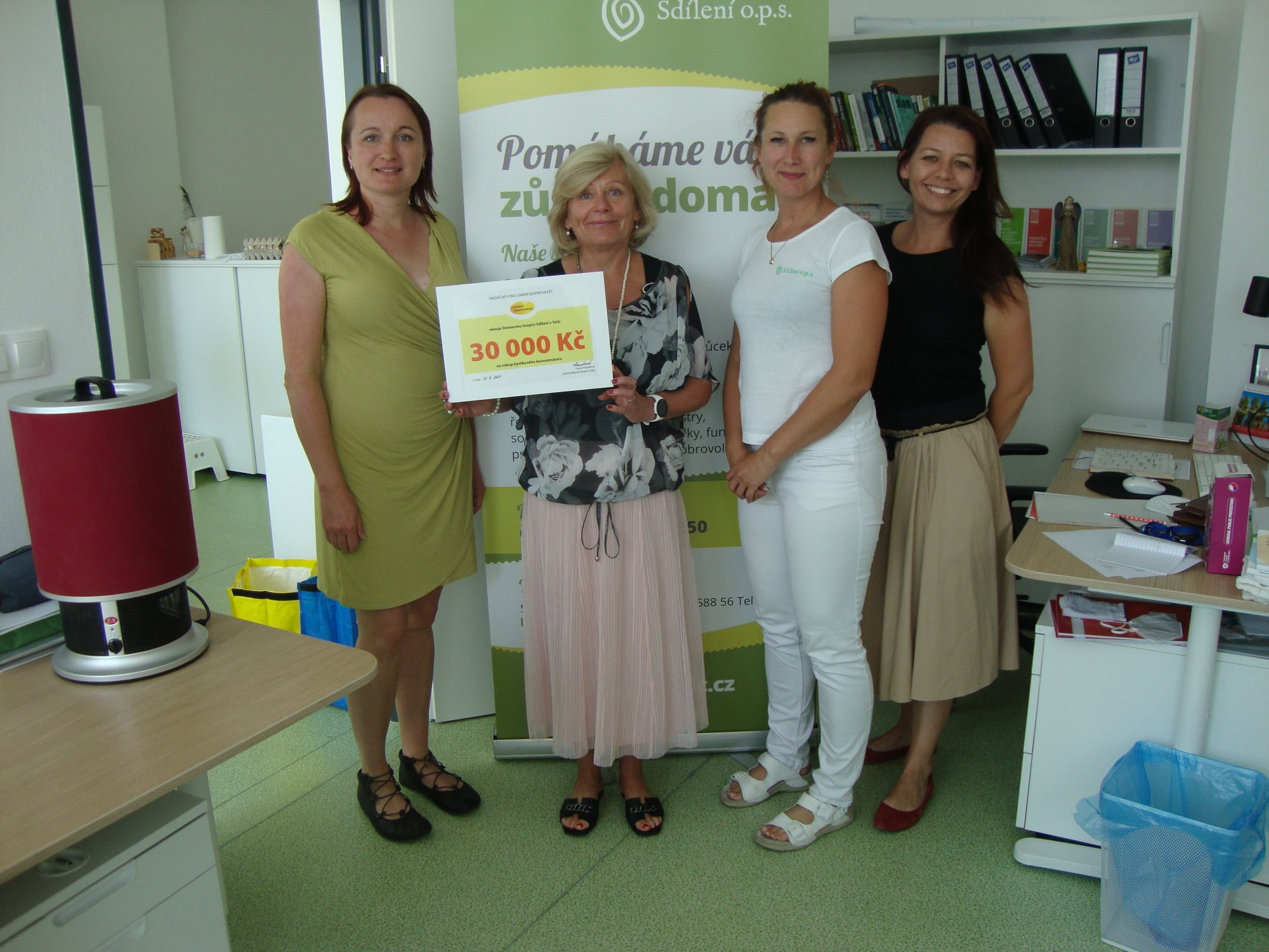 Domácí hospic Sdílení v Telči od nás získal 30 tisíc Kč na nákup silnějšího oxygenátoru